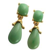 KJL Jade Colored Lucite Clip Earrings