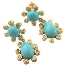 Beautiful KJL Turquoise & Gold Plated Earrings