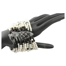 Designer Fourteen Strand Rhinestone Cat Bracelet