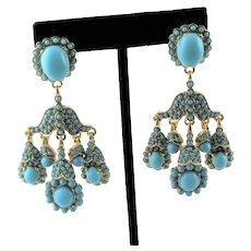 Signed Gold Plated & Turquoise KJL Chandelier Earrings