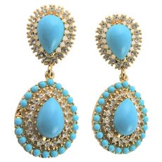 Older KJL Gold Plated & Turquoise Earrings