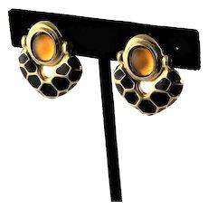 KJL Clip Golden Animal Print Earrings