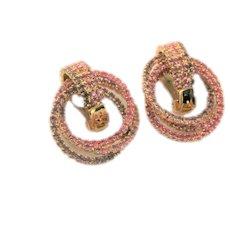 Pink Rhinestone Hoop Clips by KJL Earrings