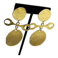 Spectacular KJL Gold Plated Clip Earrings