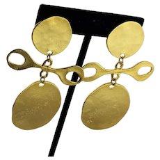 Spectacular KJL Gold Plated Clip Earrings