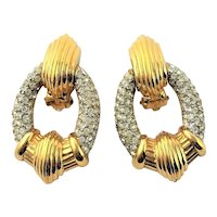 Stunning Ciner Clear Rhinestone Clip Earrings