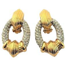 Stunning Ciner Clear Rhinestone Clip Earrings