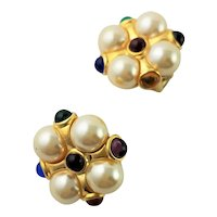 Beautiful KJL Button Multi Colored Earrings
