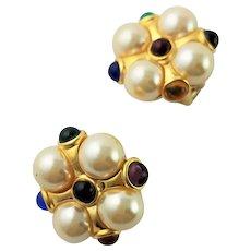Beautiful KJL Button Multi Colored Earrings