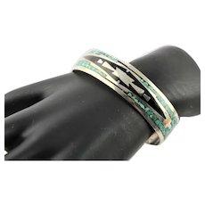 Wonderful Signed Navajo Inlay Handmade Bracelet