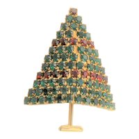 Beautiful Green & Red Rhinestone Christmas Tree Brooch
