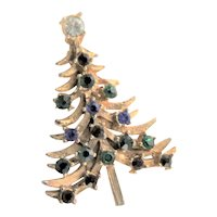 Christmas Tree Rhinestone Brooch