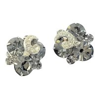Signed Weiss Silver Plated & Black Diamond Earrings