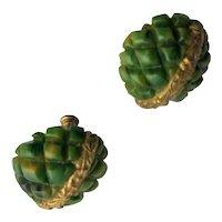 Vintage Green Bakelite Screw Back Earrings