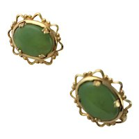 Jade Cabochon & Gold Plated Earrings