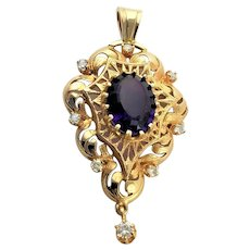 Spectacular 14K Gold Diamonds & Amethyst