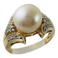 Breathtaking Large White Pearl & Diamond Gold Ring