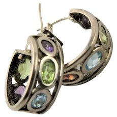 Sterling Silver & Semi Precious Stone Hoops