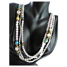 Three Strand Rose Quartz & Gem Necklace