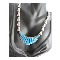 Signed Mexico Silver Plate & Turquoise Necklace