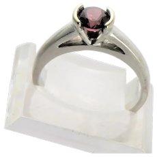 White 14K Gold Rhodolite Garnet Solitaire Ring