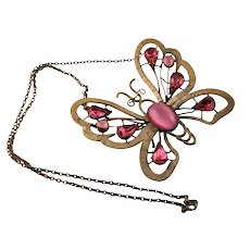 Antique Brass Dimensional Butterfly Necklace