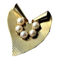 Heavy Gold Plated Modernistic Heart *& Freshwater Pearl Brooch