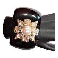 Black Enamel & Gold Plated Maltese Cross Cuff Bracelet