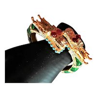 Signed Two Headed Dragon Jeweled KJL Bracelet
