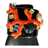 KJL Black Enamel Cuff With Coral & Jewels Bracelet