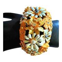 Fabulous KJL Flower Enamel & Jewel Cuff