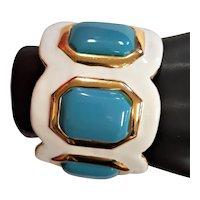 Beautiful KJL White Enamel Cuff Bracelet