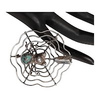 Native American Sterling Spider & Web Brooch