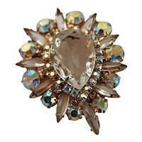 Fabulous Juliana Clear Crystal Brooch