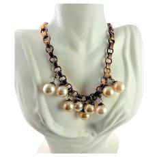 Antique White Bubble & Copper Necklace