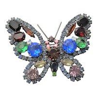 Older KJL Rhinestone Butterfly Brooch