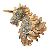 Golden Unicorn KJL Brooch With Clear Rhinestones