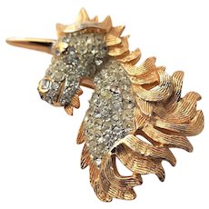Golden Unicorn KJL Brooch With Clear Rhinestones