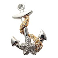 Rare KJL Anchor Silver & Gold Colored Brooch