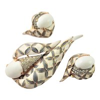 Spectacular Jomaz Brooch Enamel & Earring Set