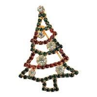 Christmas Rhinestone Tree Brooch