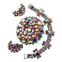 Glittery AB Rhinestone Brooch, Bracelet & Earrings