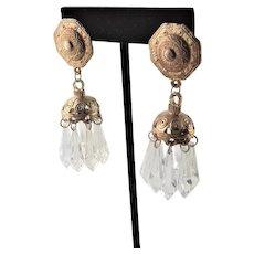 Pierced Chandelier Earrings W/ Gold Plate