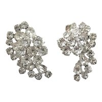 Unsigned Designer Clear Crystal Earrings