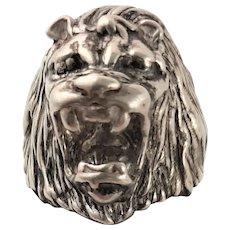 Wonderful Cast Sterling Lion Ring