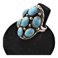 Signed Hand Made Native American Turquoise Ring