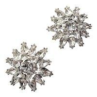Crown Trifari Sparkling Clear Rhinestone Clip Earrings