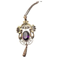Antique Gold Over Brass & Amethyst Glass Pendent