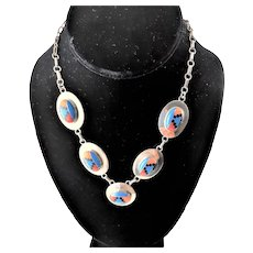 Marked Sterling Inlay Necklace