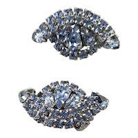 Beautiful Kramer Blue Rhinestone Clip Earrings